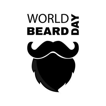 World beard day. Greeting card with beard and mustache. Postcard icon