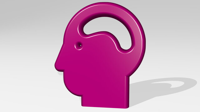 man with brain stand with shadow. 3D illustration of metallic sculpture over a white background with mild texture. concept and human