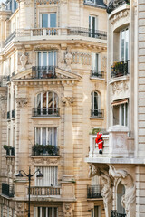 View Of Residential Building With Santa Decoration, Paris