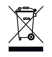 Obraz Symbol przekreślony kosz wektor elektrośmieci - fototapety do salonu