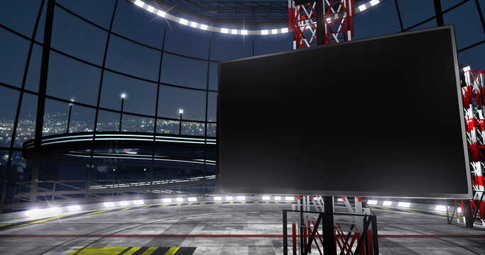 Industrial TV show backdrop with monitor. Ideal for virtual tracking system sets, with green screen. (3D rendering)