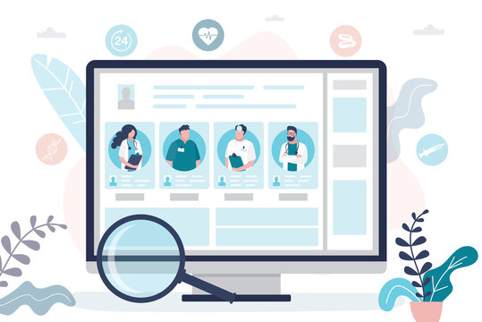 Computer monitor screen with doctors profiles and portraits. Concept of medical services and healthcare.