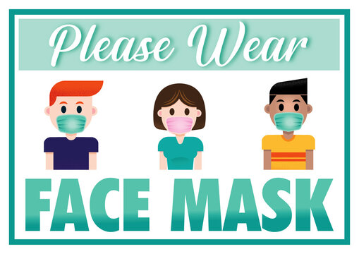 WEAR FACE MASK PLEASE SIGN A4 Printable Sticker