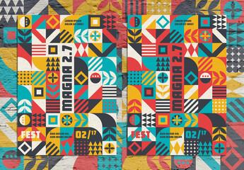 Modern Pop Art Geometric Pattern Poster Layout