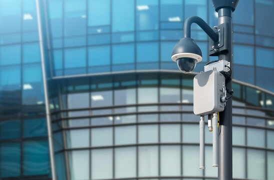 Surveillance camera with wireless transmitter. City security system