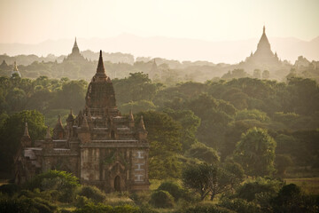 Foto auf Acrylglas Altes Gebaude Historic Temples By Trees At Bagan Archaeological Zone