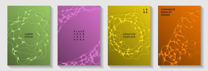 Gorgeous dance party flyers. Doodle curve lines net backdrops. Delicate magazine vector templates. Electronic music party posters set fluid wavy graphic design.