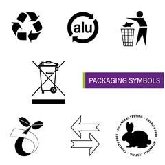 Obraz Symbole znaki na opakowanie ekologia biodegradowalny segregacja kosz strzałki aluminium - fototapety do salonu