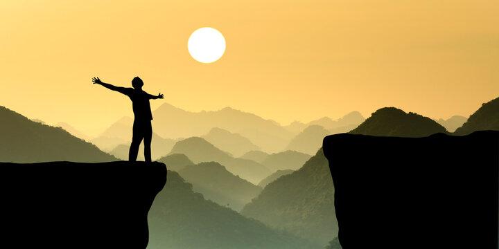 Motivation sunset silhouette  landscape illustration background.