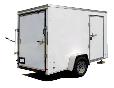 Isolated white utility trailer rear and side view.