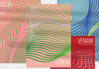 Salmon Pink Green Vertical Flyer Layout with Abstract Wavy Shape