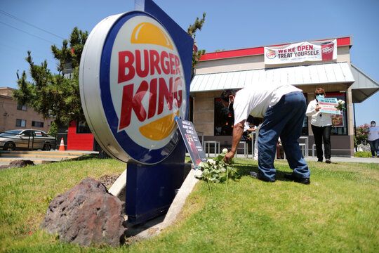 People protest to demand increased safety measures from Burger King amid the outbreak of the coronavirus disease (COVID-19) in Los Angeles