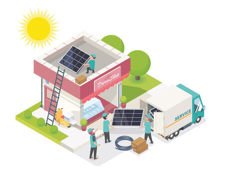 solar cell team service small business isometric vector
