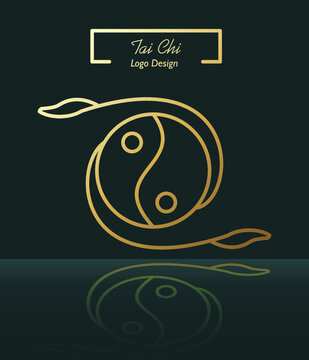 Tai chi logo symbol golden yin yang