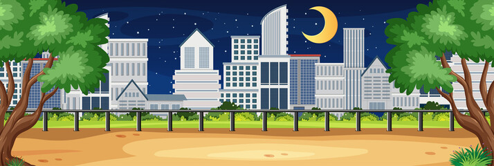 Aluminium Prints Green Horizon nature scene or landscape countryside with city view and moon in the sky at night