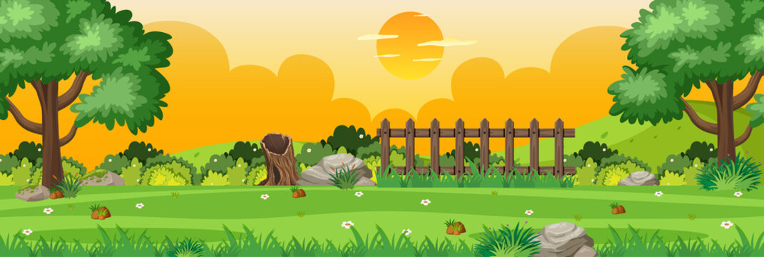 Horizon nature scene or landscape countryside with part of fence view and yellow sunset sky view