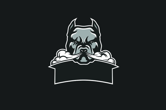 American Pit Bill with Smoke from Its Nose Vector Logotype Design