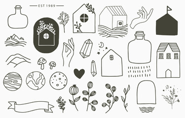 Black line collection with hand, flower,house,planet,jar.Vector illustration for icon,logo,sticker,printable and tattoo