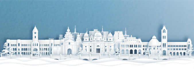 Fototapete - Panorama view of Chennai skyline with world famous landmarks of India in paper cut style vector illustration.