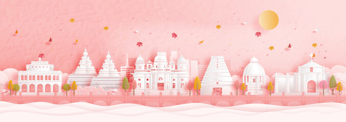 Fototapete - Autumn in Chennai, India with falling leaves and world famous landmarks in paper cut style vector illustration