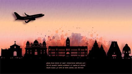 Fototapete - Watercolor of Chennai, India silhouette skyline and famous landmark. vector illustration.