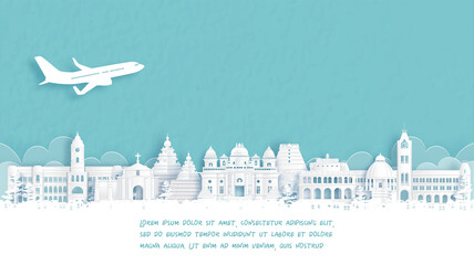 Fototapete - Travel poster with Welcome to Chennai, India famous landmark in paper cut style vector illustration.