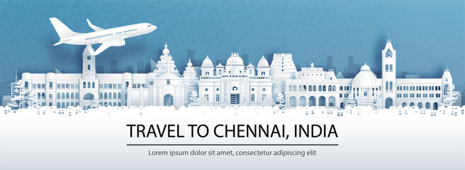 Fototapete - Travel advertising with travel to Chennai, India concept with panorama view of city skyline and world famous landmarks in paper cut style vector illustration.