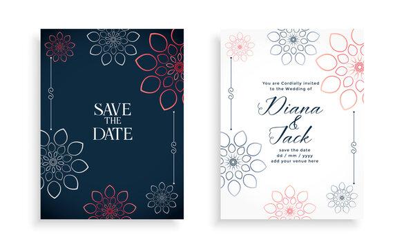 stylish wedding invitation card design with line flowers
