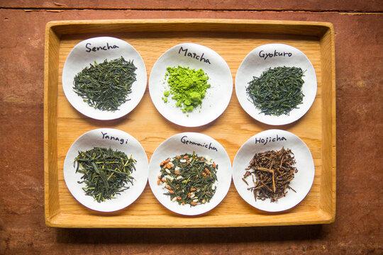 Tray of loose green tea in Kyoto, Japan.