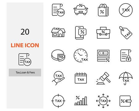 set of tax icons, fee, tax, loan, vat