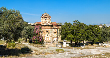 Fototapete - Church of Holy Apostles in Ancient Agora, Athens, Greece. Panoramic view of monument of Byzantine culture in Athens center.