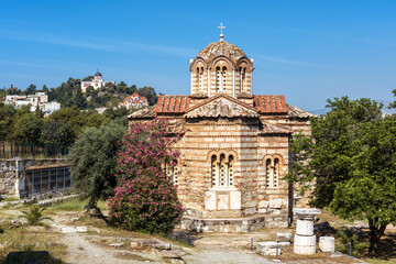 Fototapete - Church of Holy Apostles in Ancient Agora, Athens, Greece. Scenic view of monument of Byzantine culture in Athens center in summer.