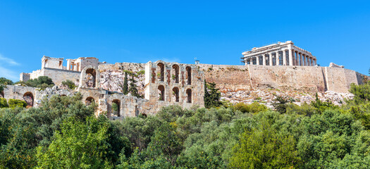 Fototapete - Panoramic scenic view of Acropolis hill and Parthenon temple, Athens, Greece. Famous Acropolis is top landmark of Athens.