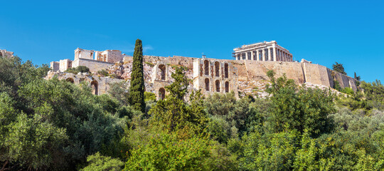Fototapete - Landscape with Acropolis hill, Athens, Greece. Famous Acropolis is top tourist attraction of Athens. Scenic panoramic view of Ancient Greek ruins