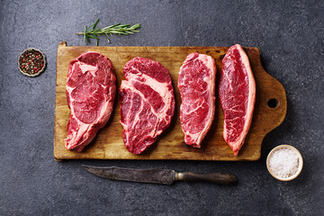 Printed roller blinds Steakhouse Variety of fresh Black Angus Prime raw beef steakes