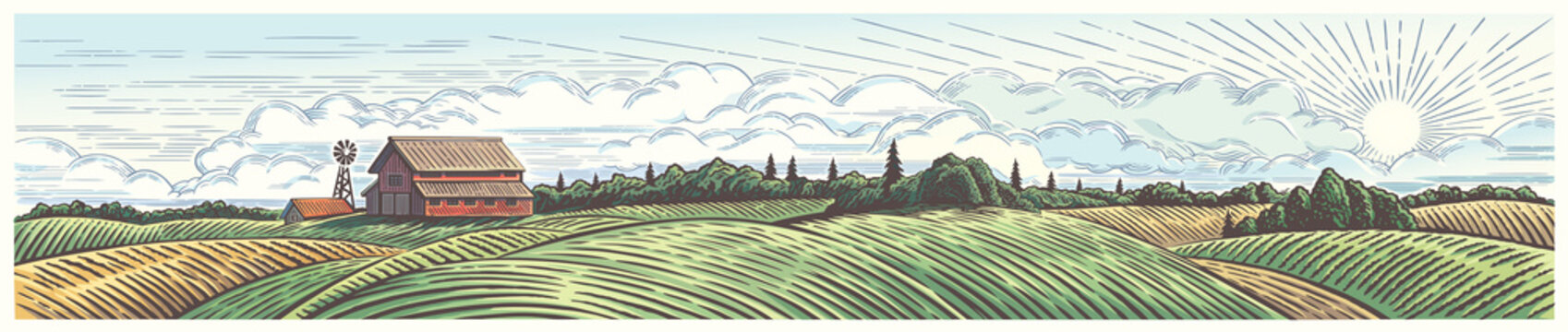 Rural landscape, panoramic format with a farm with and agricultural fields around.