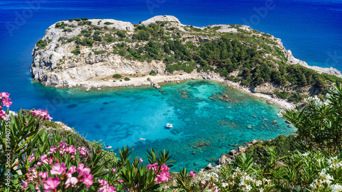 Wall mural Anthony Quinn bay. Amazing beach of  Rhodes, Greece