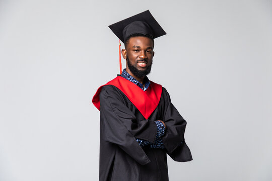 African American man college graduate isolated on white background