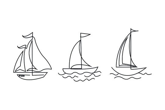 line drawing of sailing boat vector illustration