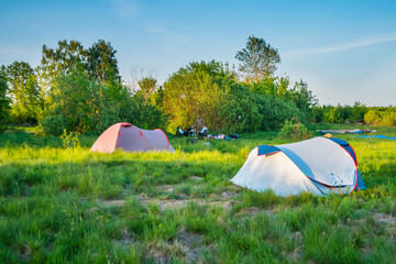 Tent camp camping at sunset on green grass field in forest