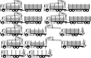Truck - Logging truck - timber lorry - wood transport - loader crane - log - set - package - monochrome - shape - silhouette - icon - profile - vector - Log truck with loader crane - log truck