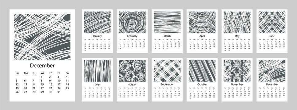 2021 Calendar design set of 12 months. 2021 Week starts on Sunday. Vertical Template A4 or A3 format. Business planner. Stationery design. Abstract artistic free doodle lines style vector.