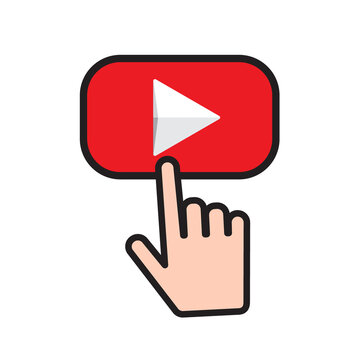 Button video player with finger click button. Social media web button, channel video content. Vector illustration. EPS 10