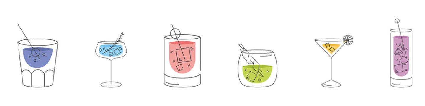 A set of cocktails. Logos. Cold summer drinks. Modern style. Flat design