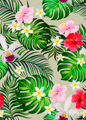 Tropical seamless vector pattern.Summer illustration with parrot and exotic flowers , leaves.