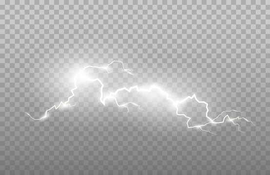 Realism of lightning and bright light effects isolated on a transparent background. Bright flashes and strong thunder