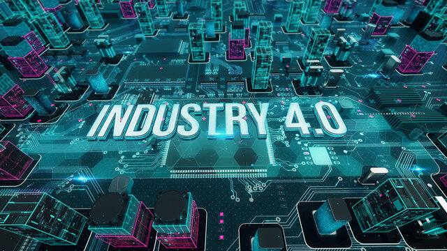 Industry 4.0 with digital technology concept 3D rendering