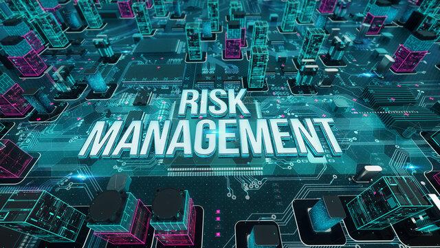 Risk Management with digital technology concept 3D rendering