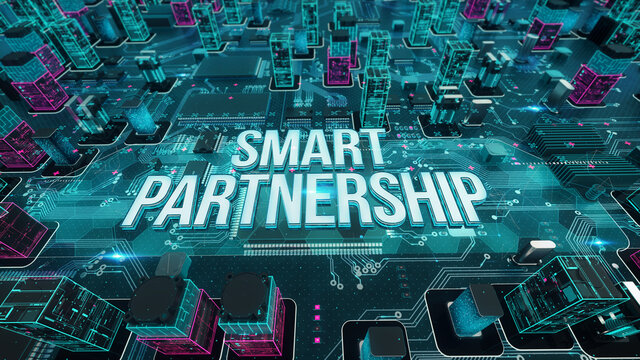 Smart Partnership with digital technology concept 3D rendering