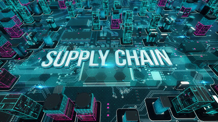 Supply Chain with digital technology concept 3D rendering